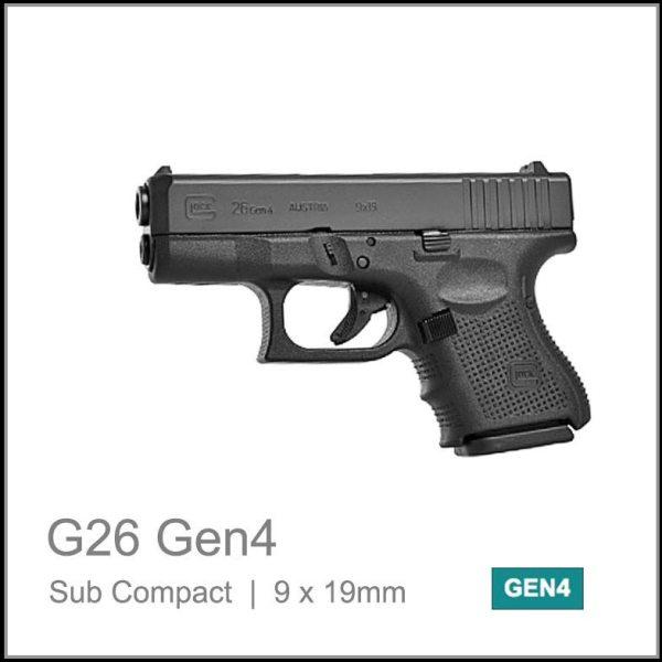 Glock 26 Gen 4 9 x 19mm sub compact semi auto pistol black