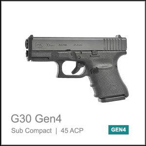 Glock 30 Gen 4 sub compact semi auto pistol calibre 45acp black color
