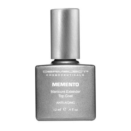 steel gray bottle of nail polish top coat