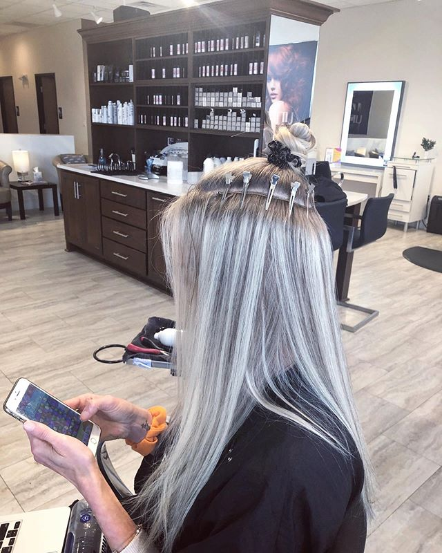 Besides seeing the clips, our hope is that you can't even see that isn't her hair! // we are wondering....are you ready to work with a high end extension artist? // it's easier than you think // ditch the tape // booking free consultations at theglossarysalon.com