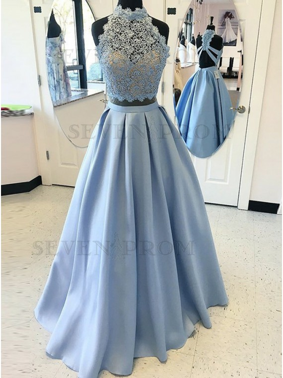 two piece prom dress with lace beading