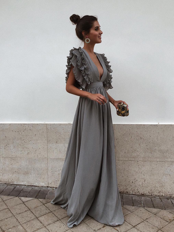 Sexy Patchwork Low-cut Maxi Dress