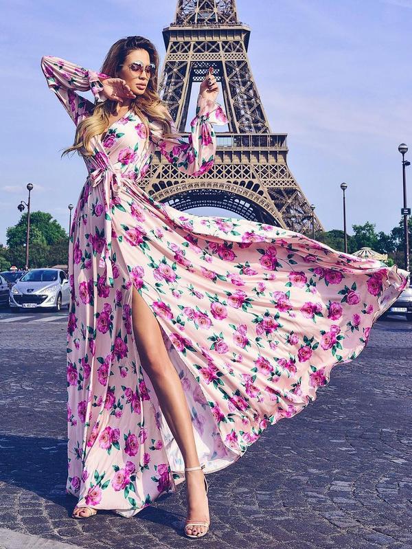 Floral Slit Tie-wrap Maxi Dress