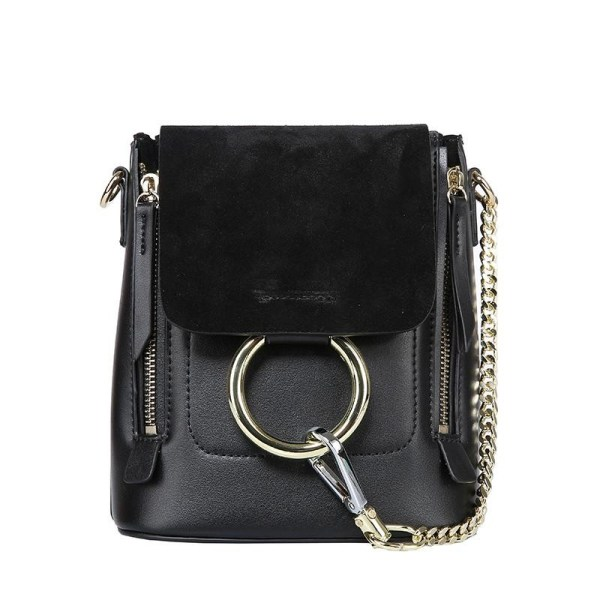 Black Metal Circle and Chain Details Flap Leather Backpack