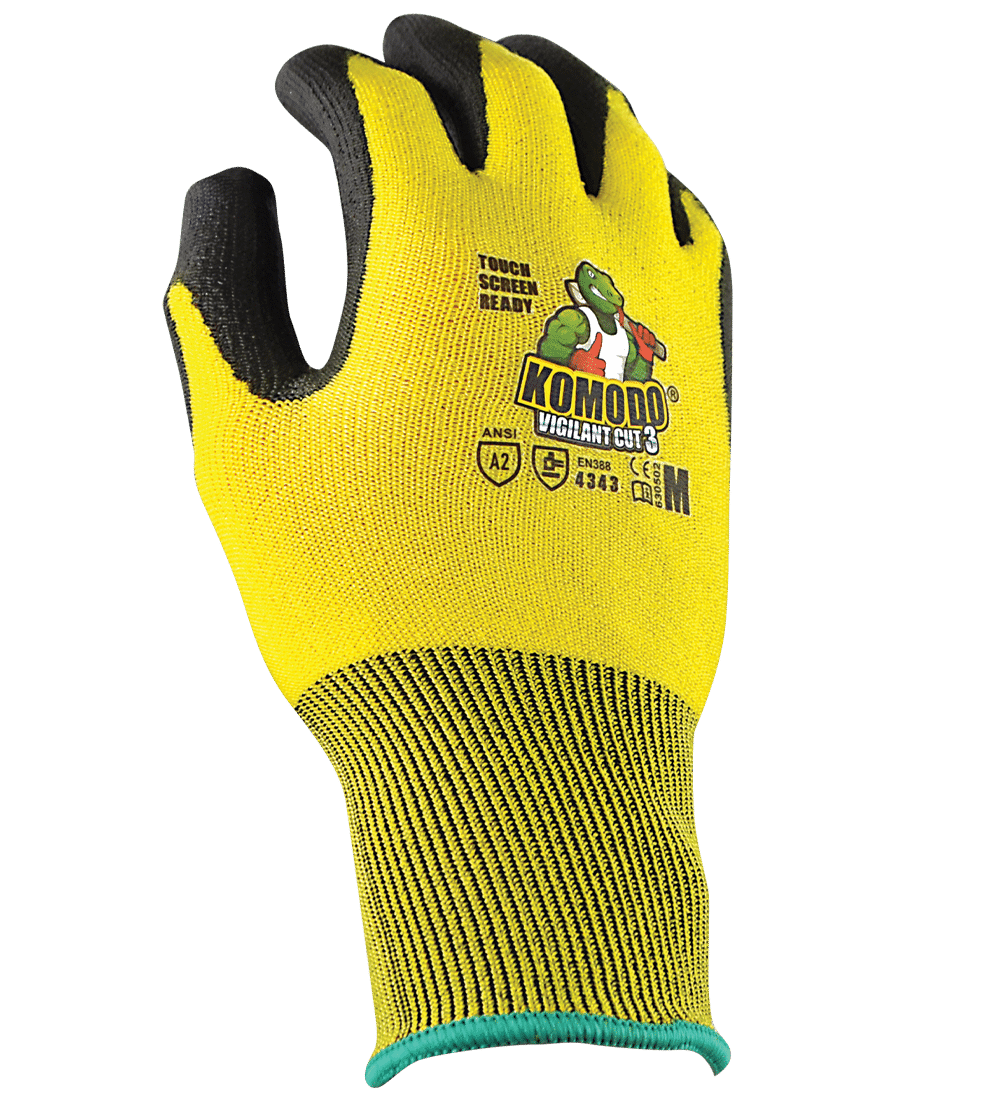 KOMODO Vigilant Cut 3 Glove Hi-Vis Yellow