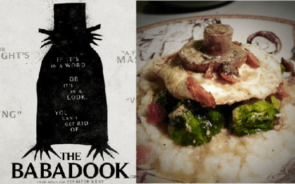 A Meal to Face Your Childhood Nightmares, inspired by The Babadook: Turnip Mash with Bacon, Mushrooms, and Brussels Sprouts, topped with a Fried Egg and Whiskey Butter Sauce. Recipe by The Gluttonous Geek.