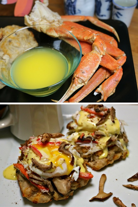 Pokemon-inspired Steamed Paras (Snow Crab) Legs with Shiitake and Cheddar Biscuits, and Crab-Mushroom Benedict with Lemongrass Hollandaise. Recipes by The Gluttonous Geek.