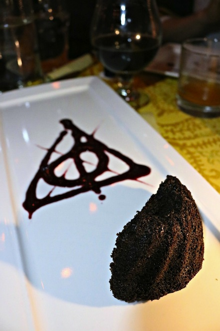 Deathly Hallows by Chocolate Cake in The Gluttonous Geek's recap of the 2016 Hogwarts Yule Dinner at Battle and Brew.