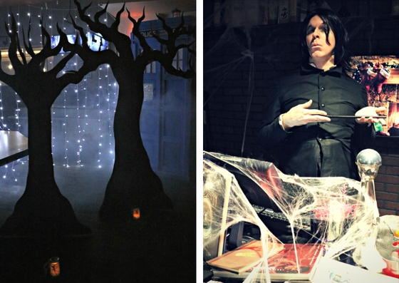 The Forbidden Forest and Professor Snape in The Gluttonous Geek's recap of the 2016 Hogwarts Yule Dinner at Battle and Brew.