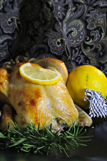Sansa Stark's Honey-Scotch & Lemon Cornish Game Hens inspired by Game of Thrones and A Song of Ice and FIre. Recipe by The Gluttonous Geek.