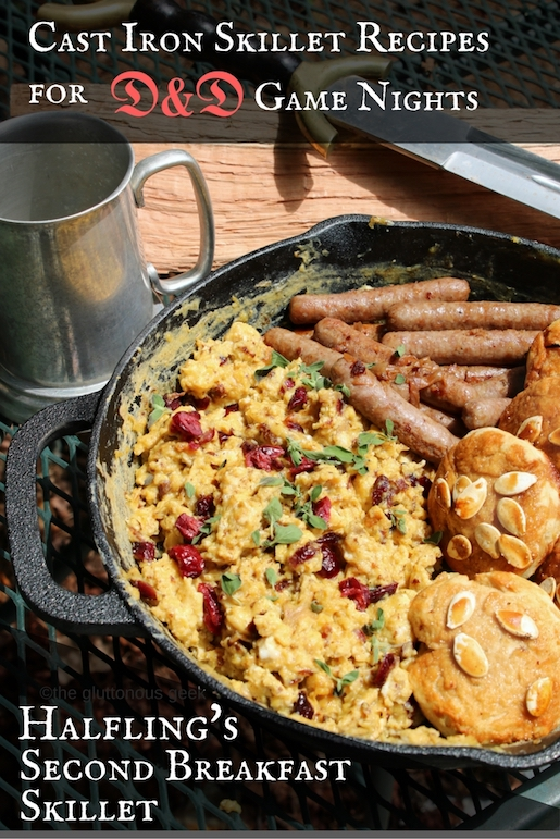 Halfling Second Breakfast Skillet with Honey-Pumpkin Seed Hardtack, one of The Gluttonous Geek's cast iron skillet recipes for DnD groups -- perfect for taking your game night outside and rolling some dice around the campfire.
