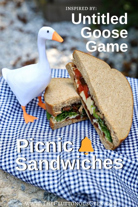 Ploughman Picnic Sandwiches inspired by Untitled Goose Game. Recipe by The Gluttonous Geek.