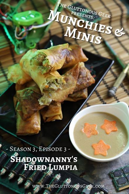 Shadownanny's Fried Lumpia inspired by Shadowrun: Hong Kong. Recipe by The Gluttonous Geek.