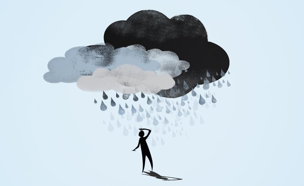 Artwork of person under a rain cloud