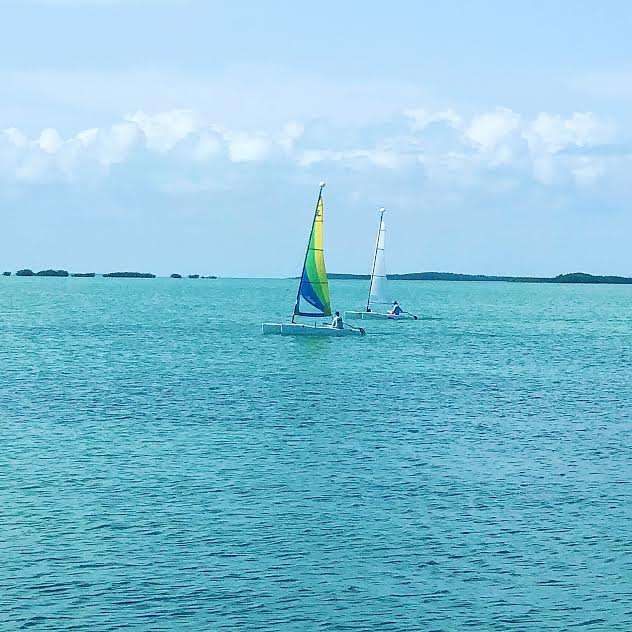 Sailing and racing in Key Largo with blue water and blue sky