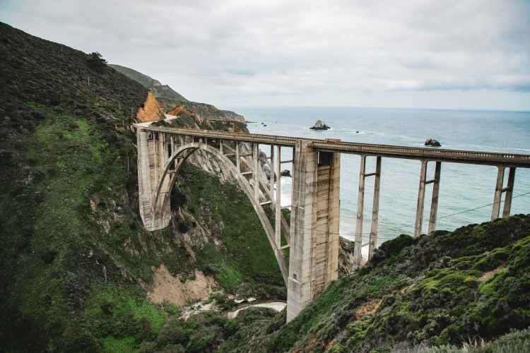aerial photo of bixby creek bridge on the big sur coast of california usa