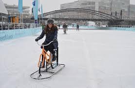 ice biking in winter