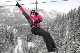 winter zip lining activity