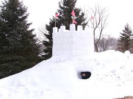 Build a snow fort as a winter activity