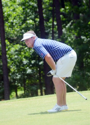 Michael McKee's tee shot on the final hole landed out of bounds and cost the Winthrop University golfer the lead.