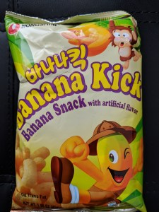 Packet of Banana Kick Banana Crisps