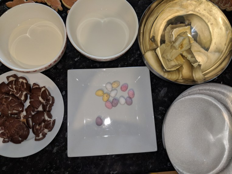Easter Fudge Set up