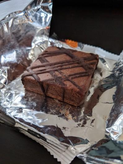 protein brownie in half