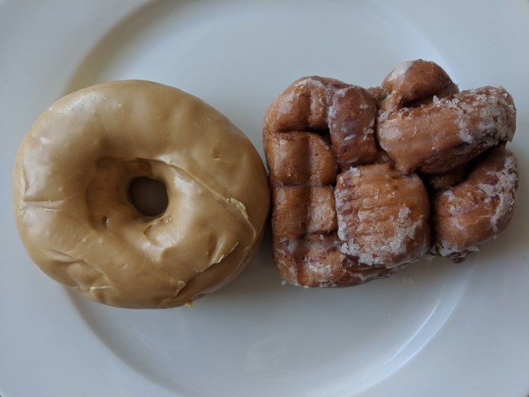 maple dip donut and apple fritter