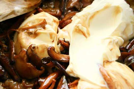 Masrcarpone and cream with mixed mushrooms