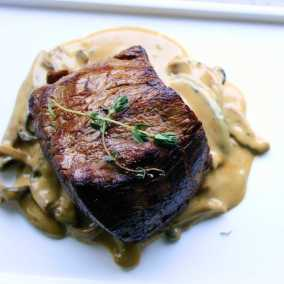 Mushroom sauce with beef fillet