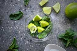 Mint, sugar and limes