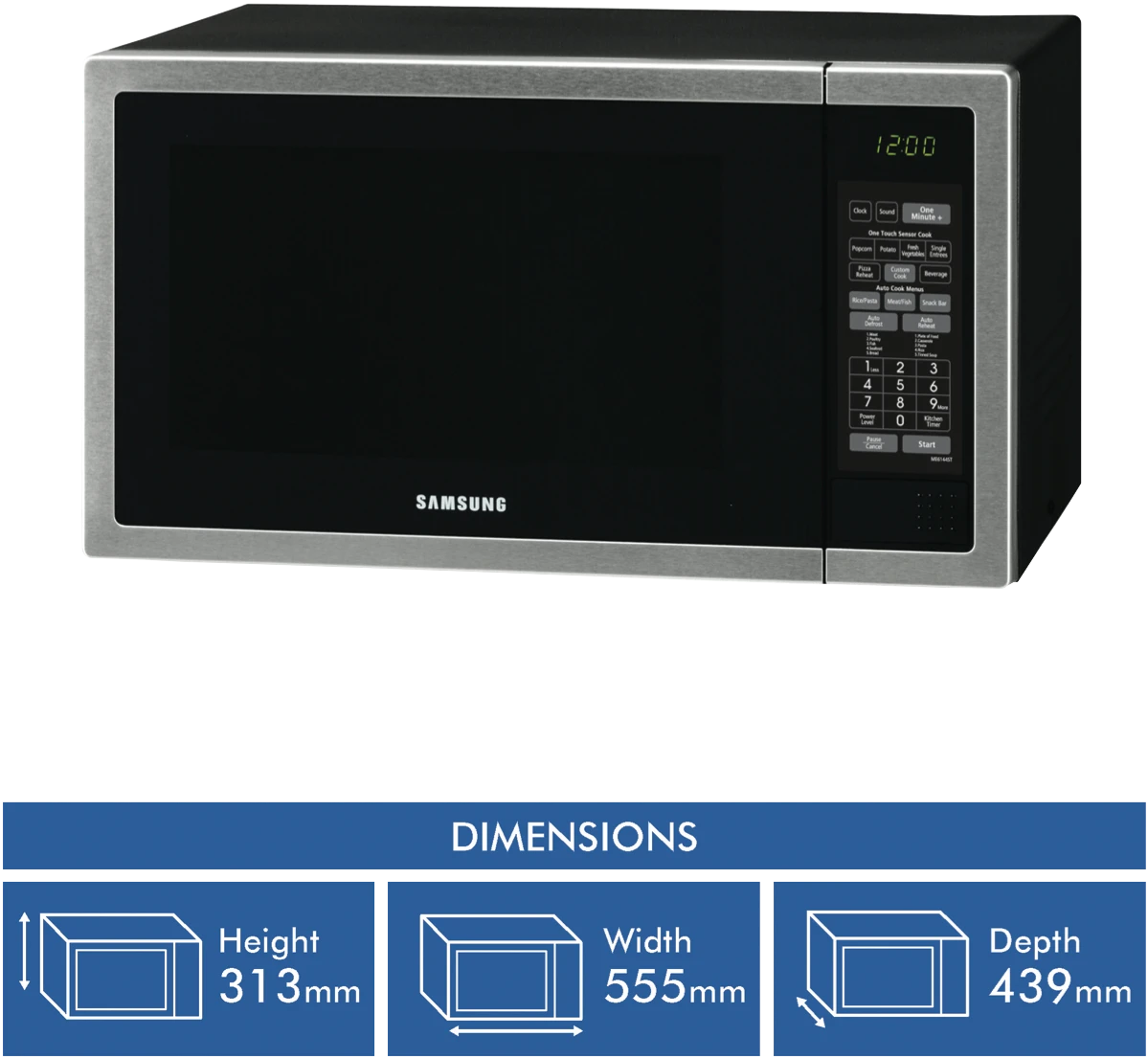 samsung40l 1000w stainless steel microwave