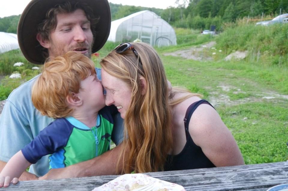farming family laughing