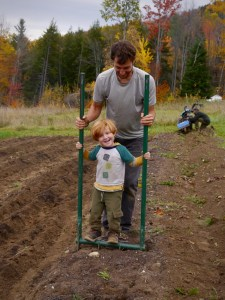 broadforking the garlic beds