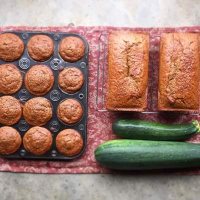 Gluten-free, egg-free, dairy-free zucchini bread and muffins