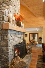 photo of stone fireplace