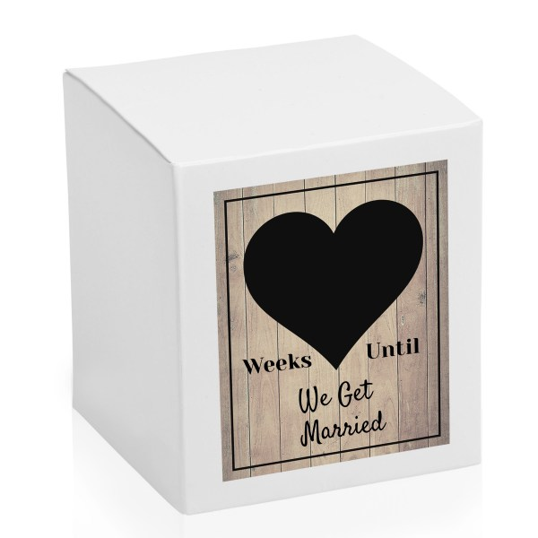 Weeks until We get married countdown chalk board candle box