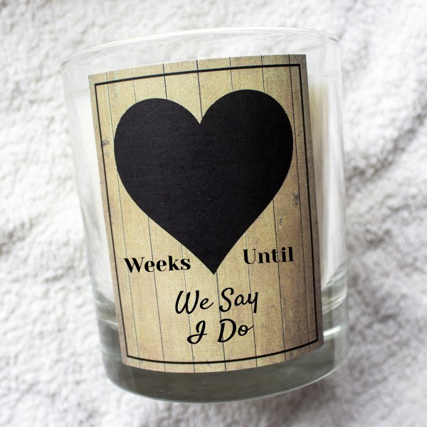 Weeks until until we say I do countdown chalk board candle