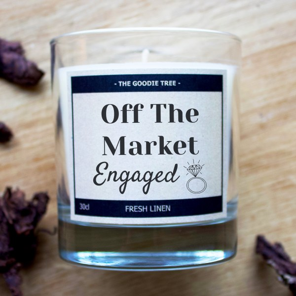 Off the market engaged tin glass candle