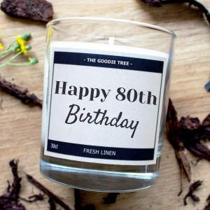 Happy 80th Birthday Candle The Goodie Tree white box