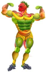Fitness Food for Humanitarian Aid Workers is similar to what an athlete nutritional needs are. Illustrated by man made from fruits.