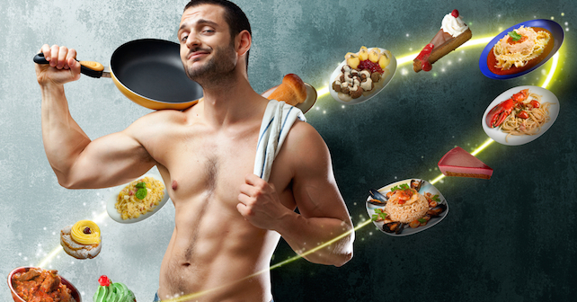 Metabolism Myths Busted, Confimed and Real Health Boosting Tips in this post on thegoodista.com. Model in picture looks fit with food circling around him. (model release signed with shutterstock.com)