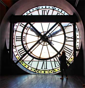 Huge station clock at the former Orsay train station in Paris, now museum