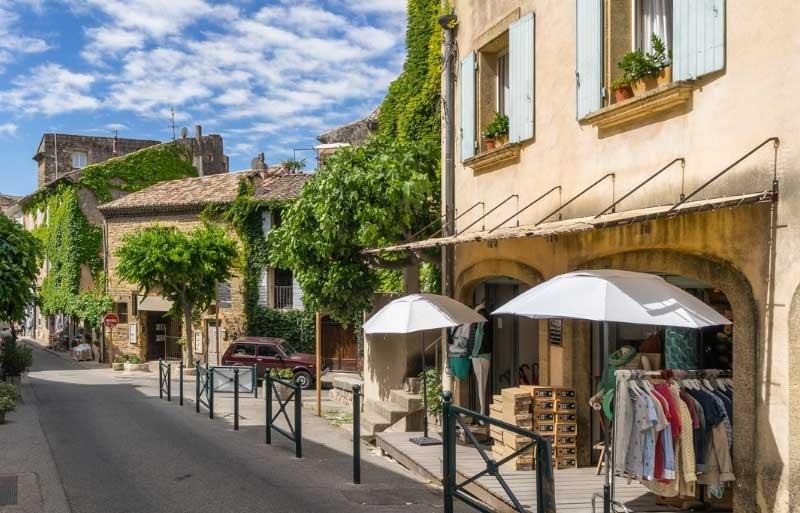 Boutiques in a pretty street in Lourmarin