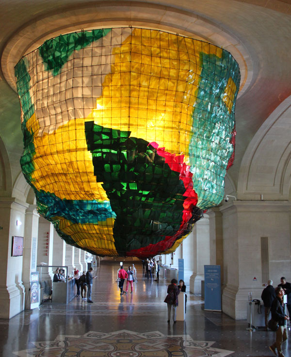 Monumental lamp hangs from the ceiling of the hallway of Fine Arts Museum in Lille