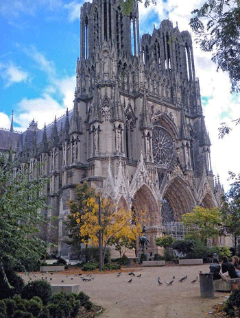 Reims Cathedral in spring, towering and gothic
