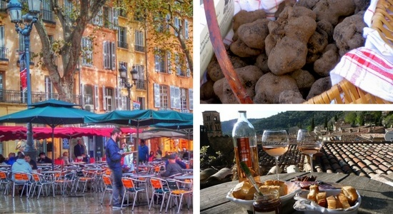 a basket of truffles and a picnic with wine in Provence France