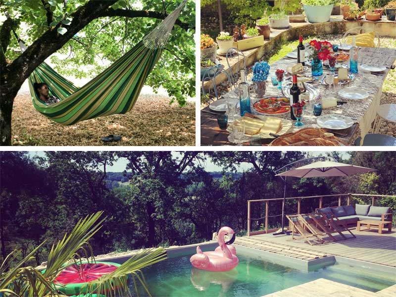 Snoozing in a hammock and swimming in a natural pool at Happy Hamlet retreat, France