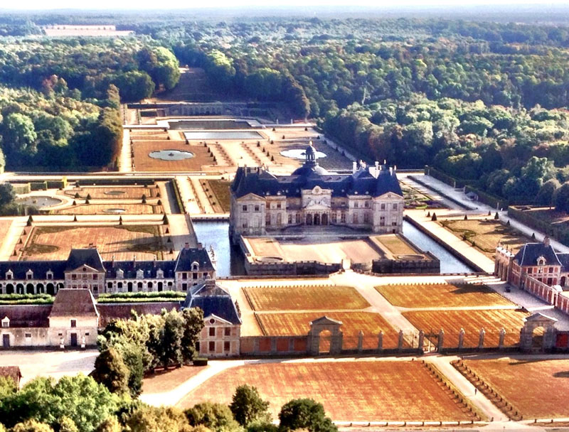 Arial view of the Castle Vaux le Vicomte, the largest private residence in France