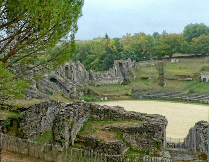 Roman area in Saintes, Charente, France, empty of people and free to clamber about